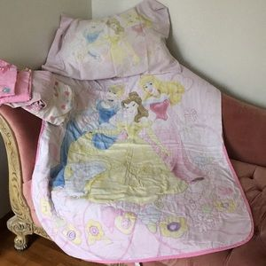 Girls princess toddler bed cover set.